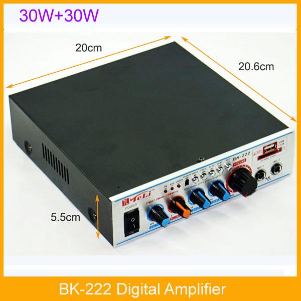 DHL/FEDEX Shipping TeLi Bk-222 Mini Amplifier USB SD DVD PC Microphone Support FM with Digital Screen(China (Mainland))