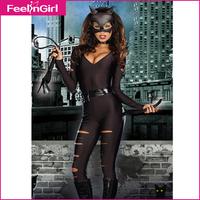 2014 New Black Cosplay Women Jumpsuit European&Ameiricab Style Halloween Costumes Cut Out Secret Cat Fantasias Costume