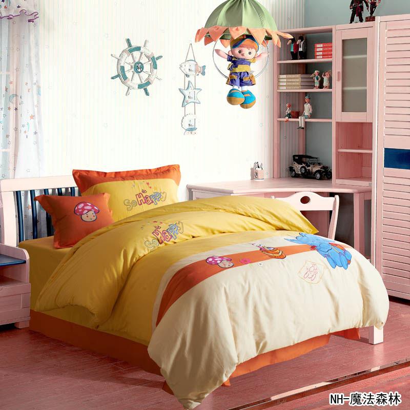 Floresta mágica pouco de cogumelos 4 pcs 100% algodão crianças conjunto de cama roupas de cama jogo amarelo e laranja têxtil de Bang(China (Mainland))