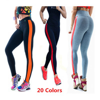 Women's Pants 2014 PU Side Stripe Women Running Tights Elastic Female Sports Capris Lulu Pant Gym Women Trousers Plus Size