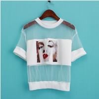 Women Sexy Perspective Monroe Head Portrait Pattern Patchwork Gauze T-shirt Crop Tops hollow out t-shirts