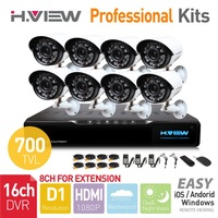 16CH HDMI Network DVR 8PCS 700TVL IR Outdoor Weatherproof CCTV Camera 24 LEDs Home Security System Surveillance Kits NO HDD