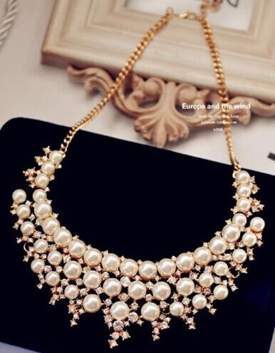 Rhinestone pearl false collar layered necklace gypsy designer jewerly women 2014 colares perolas collier femme bijuteria