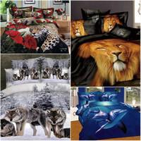 3D horse tiger wolf comforter bedding set queen size 4pcs Animal quilt/duvet cover bed sheets bedclothes set cotton home textile