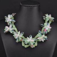 2014 New ZA Crystal Flower Necklaces & Pendants Statement Chunky Glass Necklace Design Brand Necklace Vintage Jewelry 8663