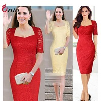 S-XXL 2014 New Women Summer Casual Dress Princess Kate Middleton Vestidos Vintage Lace Red Bodycon Party Dresses # 6639