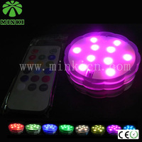 AAA battery powered MInki 4pcs flower shape ABS color changing RGB dimmable remote controlled submersible led light