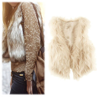 New Arrival Women's Winter Faux Fur Vest Coat Short Colete Pele Female Fur Vests Coletes Femininos De Pele Free Shipping WWC048