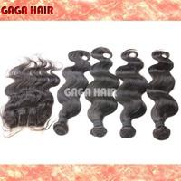 4Pcs Peruvian Virgin Hair Body Wave Hair Extension With 3 Way  Part Lace Closure Bleached Knots Brazilian Human Hair Weave  5pcs