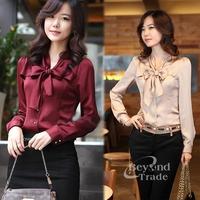 2014 New Casual Women Blouse Puff Long Sleeve Shirt Women Work Wear Bow Tie Chiffon Blouse Vintage Solid Women Tops