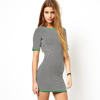 2014 NEW ARRIVAL HOT SALE!! Drop Shipping! Women Black and White Striped O-neck Half-sleeved Casual Dress