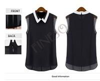 Hot selling New 2014 Spring Summer Brand Casual Chiffon Blouse Turn-down Collar Fashion Sleeveless Women Blouses & shirts B11