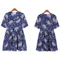 2014 New Vintage Summer Women Chiffon Print Flower Loose Pinched Waist V-Neck Beach Mini Dress Vestidos, S, M, L, XL