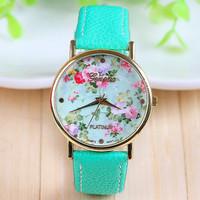 New Arrival Hot Selling Mint Green  Leather Flower Watch Rose Geneva Watch Flower Women Dress Watch 1piece/lot BW-SB-735
