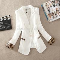 2015 new arrival lady  brand fashion design  spring one button   jacket female long-sleeve leopard print slim elegant  blazer