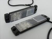 "Freeshipping 2 X White 12V 5"" Waterproof DOT Quality 3 LED trailer/Truck Clearance Marker Light + Reflector Reverse lamp"