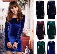 New 2014 Hot Selling Women Winter Dress Women Cheap Clothing Velour Sexy Club Long Sleeve Vestidos Bandage Party Dress