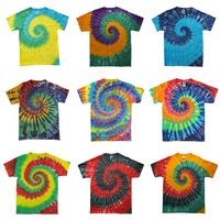 Tie dye Handmade  Fruit Skateboard street style Swirl Spiral pattern Personality deathwish neon colorful lovers t shirt