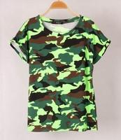 New !!fashion summer Brand Women's t shirt Camouflage short outdoor cycling Bat sleeve t shirtswomen tops Stretch Cotton tees