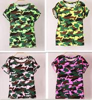 Hot fashion summer women's t-shirts camouflage bottoming shirt camouflage women tops t-shirt printing Korean short-sleeved
