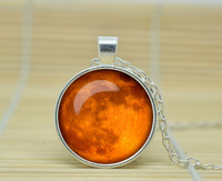 1pcs Moon pendant Moon necklace Full Moon jewelry galaxy universe stars space gift Glass Cabochon Necklace A0089