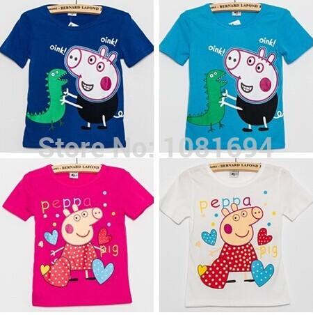 New 2015 Peppa Pig T-shirt White Pink Children T shirt Girls Clothes Boy Tees 100% Cotton,boys' t-shirts(China (Mainland))