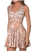 Best Quality 2014 new dress Women Marauders Map Reversible Skater  fashion Summer dress Free shipping