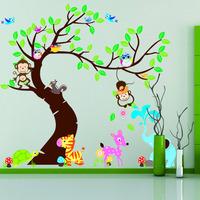 Forest Park Tree Animals Giraffe Owl Lion Wall Stickers Nursery Decal Kids Home Decors TM1214