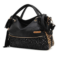 New Fashion Women Handbag Sequin Leopard Totes Black Shoulder Satchel Messenger Cross Body Bag Women Hobo Bag Purse