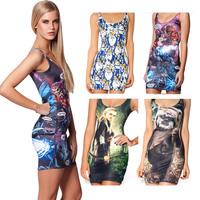 Black Milk Dress 2014 Summer Women Dress Short  Sexy  Tight Hip Pack Sheath Dress Sleeveless Vest  MIni Digital Print Dress