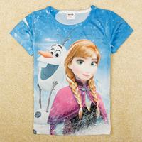 Frozen Girl T Shirt New 2014 Summer Kids Short Sleeve Qmilch T-shirt Double Print Anna & Olf Children Frozen T Shirts K5193y