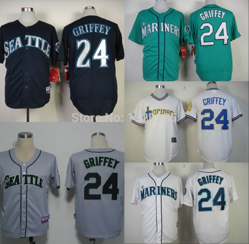 Mlb seattle mariners # 24 Ken Griffey bianco maglie baseball jersey base cool cucito ricamo abbigliamento sportivo loghi spedizione gratuita