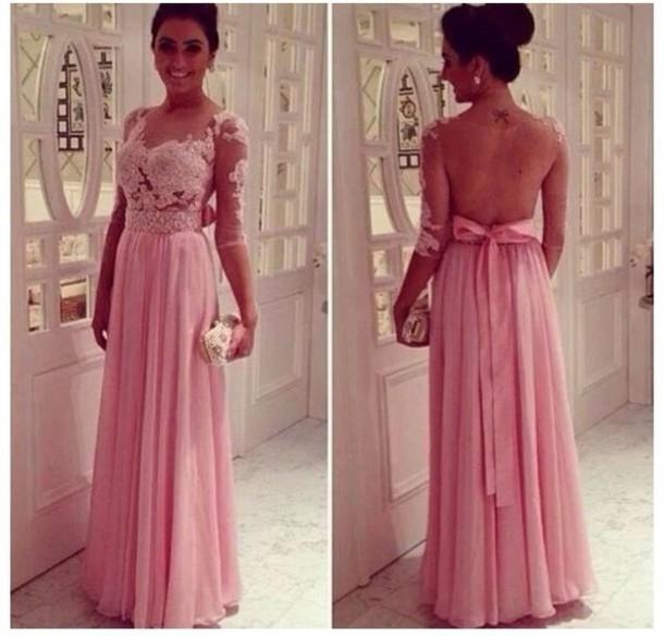 Custom Made 2014 Vestido rosa social de longo Vestidos com mangas Abrir Voltar noite formal vestido vestidos de baile festa(China (Mainland))