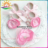Sunshine store #2B1953 3 set/lot(pink)Wave Baby Girl Vintage Rhinestone Headband and soft pearl Crib Ballerina Booties Shoes Set