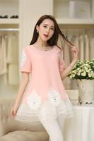 Summer Short Sleeve Maternity Blouse Lace O-neck Pregnant Women Wear Clothing Chiffon Maternity   Dress
