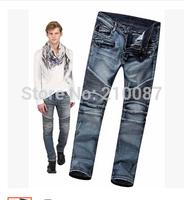 2014 new hole in the knee-level folding punk retro locomotive men's jeans