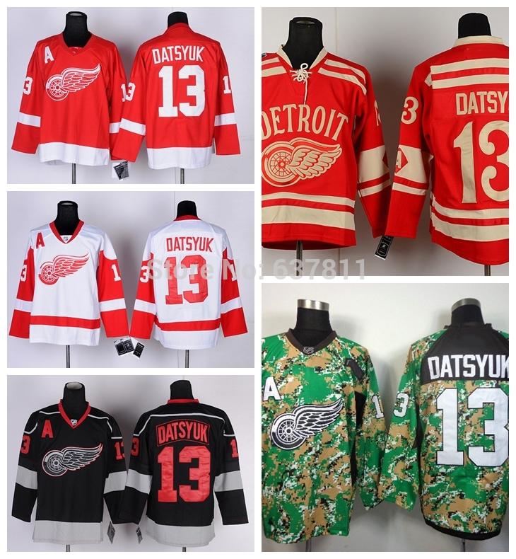 Cheap Detroit Red Wings Hockey Jerseys #13 Pavel Datsyuk Jersey Home Red White 2014 Camo Black Ice Mens Stitched Jerseys A Patch(China (Mainland))