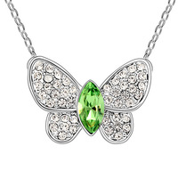 Austria Crystal Green BUTTERFLY Bridal Wedding Charm Pendant Chain Necklace  Best Friend Mother's Day New Christmas Gift Cute