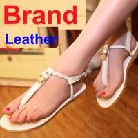 Brand Designer New 2014 Skull Genuine Leather Black White Khaki Gladiator Sandals Women Flat Summer Shoes Flip Flops sandales