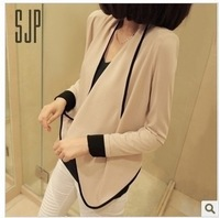 European and American wild women's long-sleeved jacket shoulder pads loose contrast color small outside the ride casual jacket