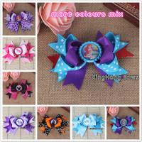 6pcs /lot more designs mix bottle cap  hair bows children ribbon bows hair accessory