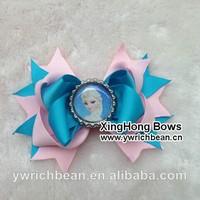 60pcs /lot  6colours 2014 bottle cap frozen hair bows children ribbon bows 2014682