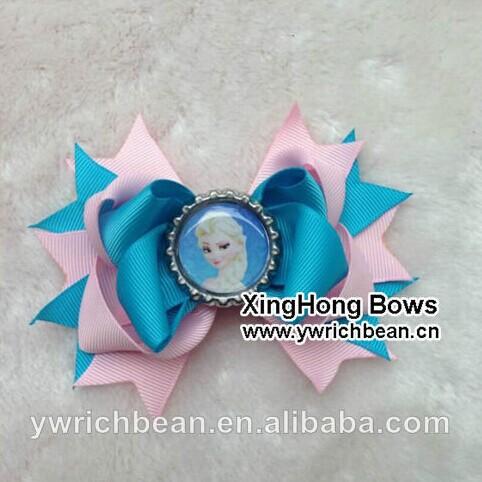 60pcs /lot 6colours 2014 bottle cap hair bows children ribbon bows 2014682(China (Mainland))