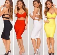 Hot Sale! 5 Colours Two Pieces HL Bandage Dress Women's Sexy Mini Dress Club Night Dress High Quality