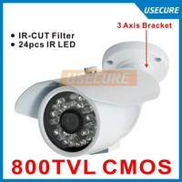New arrival cmos 800tvl 960H 24 leds indoor / outdoor night vision CCTV Security cameras 3 Axis bracket+ free shipping!