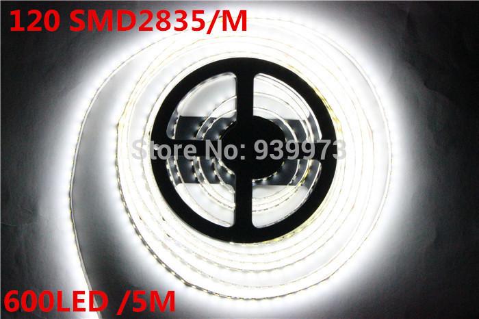 Super Bright 5M 2835 SMD 120led/m 600Leds White Warm White Flexible LED Strip 12V Non-Waterproof more brighter than 3528 strip(China (Mainland))