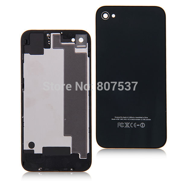 Free Shipping Replacement For iphone 4 4g Black Back Rear Battery Glass Cover Housing Case Door For iPhone 4 4G Free shipping(China (Mainland))