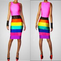New 2014 Summer Dress Elegant Casual Dress Spring Nightclub Bodycon Bandage Winter Party Patchwork Dress Vintage Vestidos