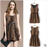 New 2014 Vintage Women Winter Dress Leopard Seleeveless Mini Dress Pleated Waist Gowns Party Evening Casual Dress With Belt