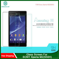 MOQ 1PC For SONY Xperia M2(S50H) NILLKIN Amazing H Nanometer Anti-Explosion Tempered Glass Screen 9H Protector Film